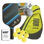 One Rally Graphite Paddle, 6 Outdoor TOP Balls, DVD, Rulebook, and Bag.