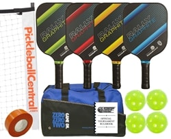 Rally Graphite Pro Set - Portable Net, Four Graphite Paddles, Four Pickleballs, Bag, Tape and Rule Book