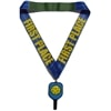 Blue and black pickleball spinner medal featuring a spinning neon yellow pickleball in the center and a  satin ribbon.
