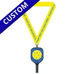 Black, blue and yellow Customized Pickleball Spinner Medal featuring a spinning pickleball and yellow satin ribbon.