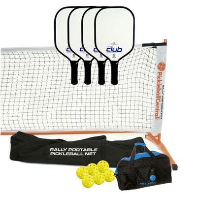 Club Composite PIckleball Set - portable net, four paddles, four Jugs, and duffel