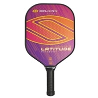 Latitude Composite Pickleball Paddle in five bold colors: Blue Force, Red Force, Raspberry Orange, Lakeside Lime, and Lemon Blueberry