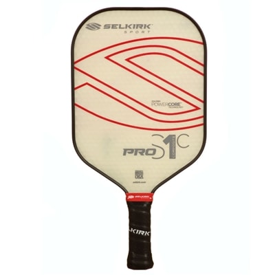 Pro S1C Polymer Composite Pickleball Paddle, choose from middle or heavyweight and thin or standard grip.