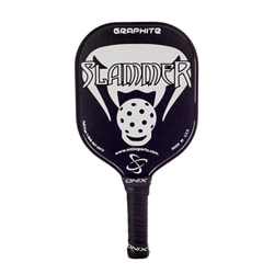 Graphite Slammer-lightweight paddle with black background and contrasting color design