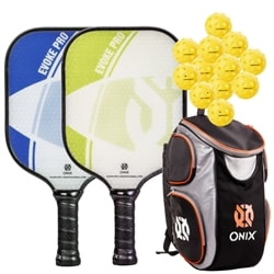 Evoke Pro Bundle, two middleweight poly-core paddles, backpack, and four balls