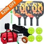 Inferno Pickleball Set - Portable Net, Four Paddles, Four Pickleballs, Bag, Tape and Rule Book