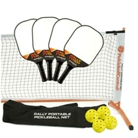 Rally Tyro 2 Set - Portable Net, Four Composite Paddles, Four Jugs pickleballs