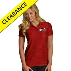 Illusion Polo for Women with USAPA embroidered logo. Sizes S-2XL. Dark Red