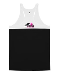 Double-Back Racer tank for Women with USAPA printed logo. Sizes S-2XL. Hot Pink or Black