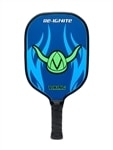 Re-Ignite Graphite paddle with black Durasoft grip in a fierce blue graphic featuring the signature Viking helmet logo.