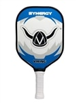 From Viking, the Synergy is a quality paddle good for all levels of play from beginner to advanced, bears the Viking helmet design in blue, white and gray.