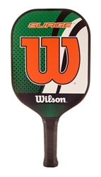 Wilson Surge Paddle, rimless orange and green color scheme featuring trademark W design, and perforated cushion grip
