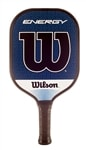 "The Wilson Engergy Graphite Pickleball Paddle with blue and white ""W"" logo, edgegard and high quality grip."