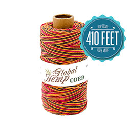 Global Hemp Autumn Leaves Variegated 20# Test Waxed Hemp Twine