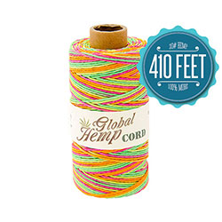 Global Hemp Neon Variegated 20# Test Waxed Hemp Twine