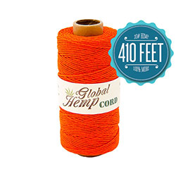 Global Hemp Orange 20# Test Waxed Hemp Twine