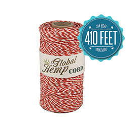 Global Hemp Red & White Stripe 20# Test Bakers Hemp Twine