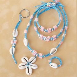Cowrie Pastel Hemp Jewelry Kit