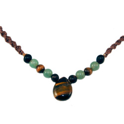 Hemp Necklace with Tear Drop Shaped Tiger Eye Pendant