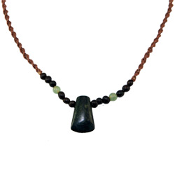 Hemp Necklace with Wedge Shaped Serpentine Pendant