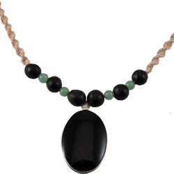 Hemp Necklace with Oval Shaped Obsidian Pendant