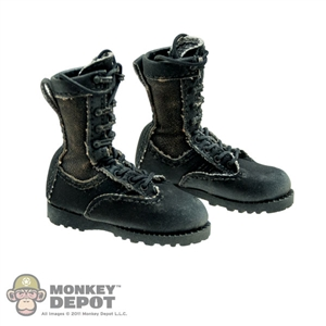 Boots ACE Black Combat Cloth Lace Up Weathered