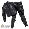 Suit: Art Figures Black Leatherlike Jacket & Pants Suit
