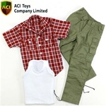 ACI Toys Flannel Shirt (Short sleeves),White Vest & Military Cargo Pants (Olive) (ACI-735)