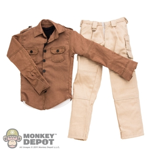ACI Toys Military Shirt (Walnut),Black Vest & Cargo Pants (Khaki) (ACI-738)