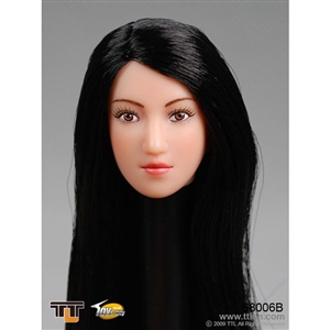 Head: TTL Toys Female Head with Long Straight Black Hairstyle (TTL-68006B)
