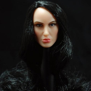 Head: TTL Toys Female Head with Long Curly Black Hairstyle (TTL-A008)