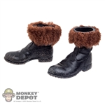 Boots: Coo Models Weathered Black Boots w/Fur (No Ankle Pegs)