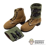 Boots: Cal Tek German WWII Short Brown w/ Cloth Gaiters
