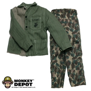 Fatigues: Dragon US WWII USMC HBT Utiliy Jacket & Camo Trousers