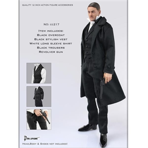 Clothing Set: Dollsfigure Black Overcoat Full Set (CC217)