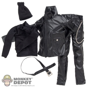Clothing Set: Dollsfigure Black Motorcyclist Set (CC202)