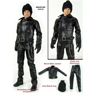 Clothing Set: Dollsfigure Black Biker Clothing Set (CC192)