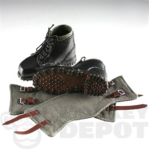 Boots DiD German WWII Black Leather Mountain Gaiters