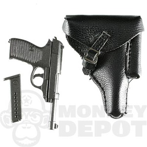 Pistol DiD German WWII Walther P38 Black Leather Holster