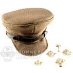 Hat DiD British WWII Officer Visor Cap Extra Badges