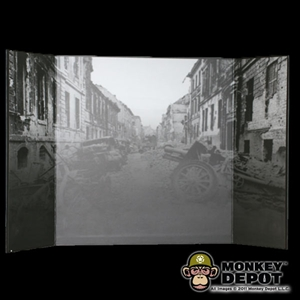 Display: DiD B&W WWII Battlefield Backdrop (22in X 14in)