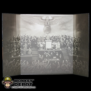 Display: DiD B&W WWII Nazi Party Meeting Backdrop (22in X 14in)