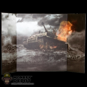 Display: DiD B&W WWII Flaming Tank Backdrop (21in X 13.5in)