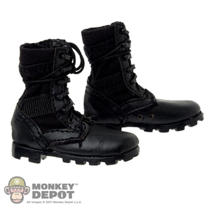 Boots: DAM Panama Outsole All Leather Combat Black