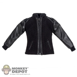 Shirt: DamToys Black Zip Up Shirt w/Leatherlike Sleeves