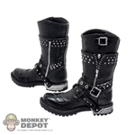 Boots: DamToys Molded Black Motorcycle Boots w/Pegs