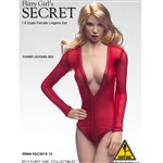 Clothing Set: Flirty Girl Red Female Fishnet Leotard