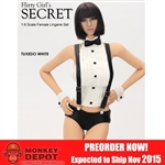 Clothing Set: Flirty Girl Tuxedo Lingerie w/Head In White (FG-2015-14)