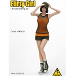 Clothing Set: Flirty Girl Combat Short Fashion Set - Olive (FG-2016-5)