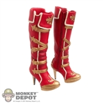 Boots: Flirty Girl RedKnee High Boots (Ankle Pegs Not Included)